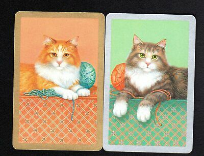 Vintage Swap/Playing Cards - Cats with Wool Pair (Gold & Silver Borders)