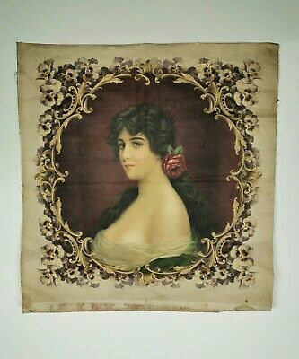 Victorian 19th Century Antique Portrait Print of Young Woman On Linen