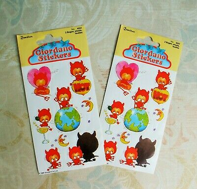 Vintage Giordano Stickers,1980s,Devils,2 sheets,4231,Zweckform,made in Germany