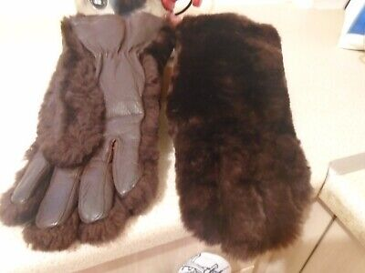 Smart Brown Leather And Fur Winter Vintage Ladies  Gloves Small Size 7