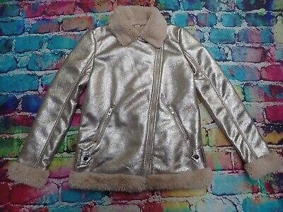 M125 River Island Girls Age 11 - 12 Years Rose Gold Faux Fur Sparkly Coat BNWT