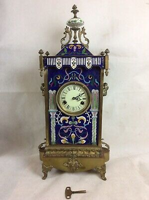 "Unusual Large Brass And Cloisonne Enamelled Mantle Clock In Ornate Case 27"" Tall"