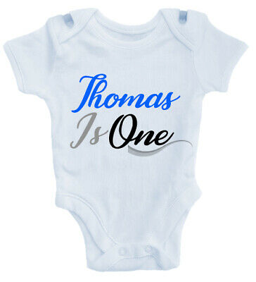 Personalised One 1st First Birthday Arrow Baby Grow Bodysuit T-Shirt or Tee Blue