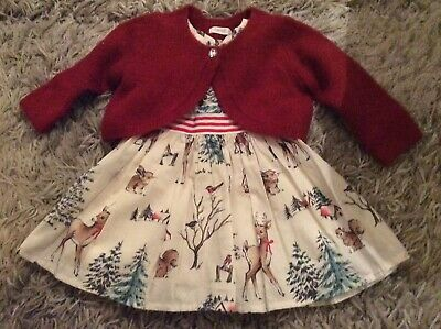 Next Baby Girls Christmas Dress And Sparkly Red Cardigan Age 3-6 Months Bnwt