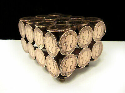 Hing Lidded Box Crafted Real Old Pennies, Coin Art, Made From Old Coins, Old pen