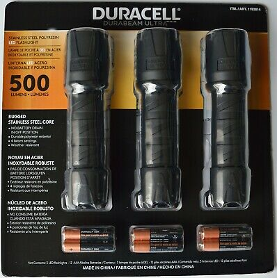 Duracell Durabeam 500 Lumens Ultra LED Flashlight 3 Pack With Batteries