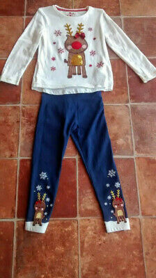 F&F ~ Light Up Flashing Christmas Reindeer Sequin Top and Leggings ~ 3-4 Years