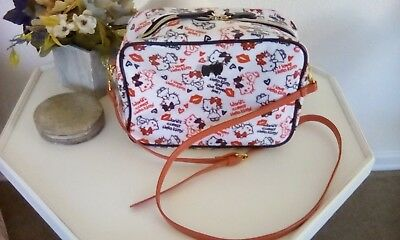 Sanrio Hello Kitty Shoulder Bag Purse Red White Black Removable Strap Coated Cot