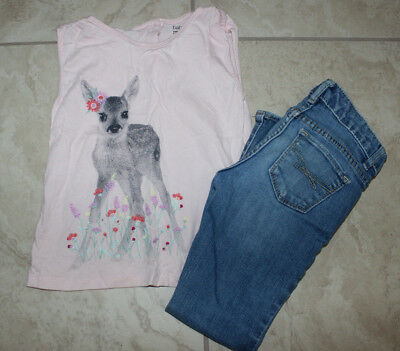 Gap Kids Girl 2pc Set/Outfit Pink deer Top & Blue jeans 1969 Sz: 5