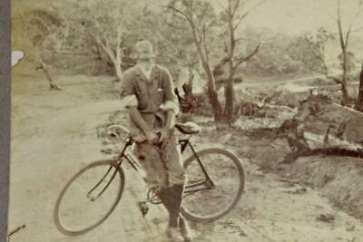 Vintage Australian PHOTOGRAPH. Road 3 miles from Jindabyne c1900s-Man & Bicycle