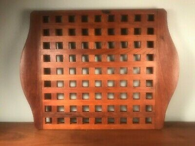 "Large Vintage Dansk Denmark Teak Wood Lattice Serving Tray Quistgaard 17""x13"""