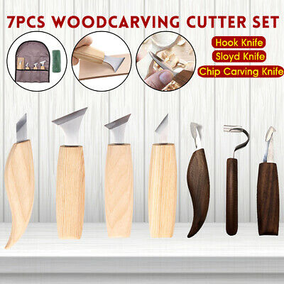 7Pcs/set Woodcarving Cutter Woodwork Sculptural DIY Spoon Carving Knives Tool