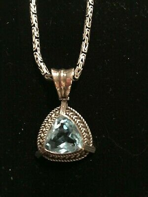 Sterling Silver Necklace Barrel Clasp Boxed Byzantine Chain with Large Blue Topa