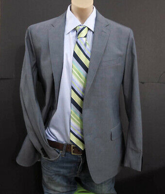 NEW $198 Banana Republic Mens Suit Jacket Blazer Size 44R Tailored gray cotton