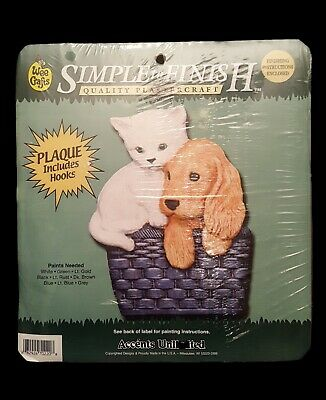 Adorable Puppy & Kitten Plaque Sealed Accents Unlimited