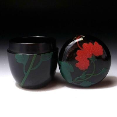BR29: Vintage Japanese Wooden Tea Caddy, Natsume, Ryukyu Lacquer Ware