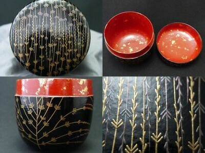Japanese Lacquer Wooden Tea caddy Mebari-Willow makie O-Natsume (927)