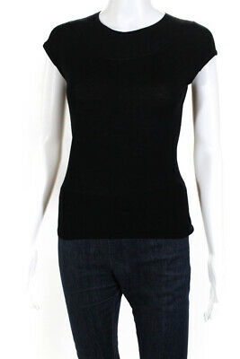 Elie Tahari Womens Short Sleeve Crewneck Knit Top Black Size Extra Small