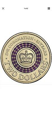 Purple Two Dollar 2013 Coin Australian 60TH Anniversary Queens Coronation $2 UNC