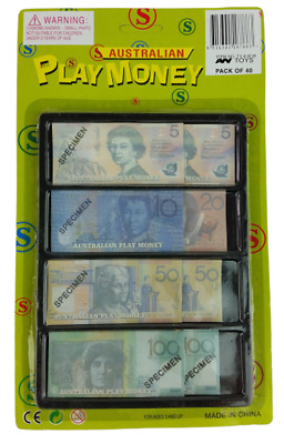 Australia Play Money, Pack of 40, $5, $10, $20, $50 & $100 notes
