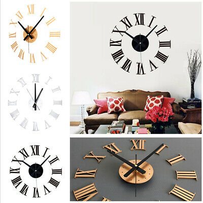 3D DIY Extra Large Roman Numerals Luxury Mirror Wall Sticker Clock Home Decor AN