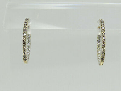 PETITE 14k Yellow Gold Round Brown White Diamond Pierced Hoop Earrings 5/8""
