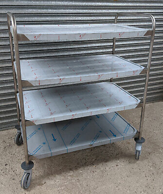 Fully Welded Commercial Stainless Steel 4 Tier Service Trolley Kitchen Cart £366