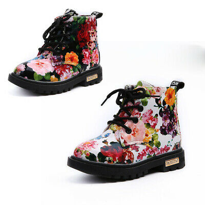 Children Kids Girl Princess Floral Martin Ankle Boots Baby Toddler Lace Up Shoes