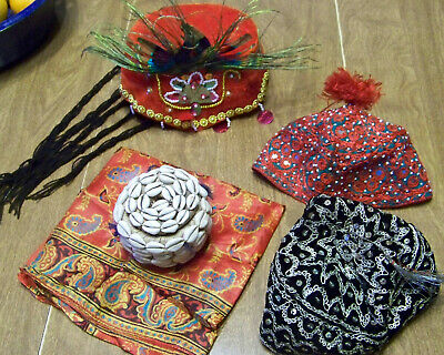 VTG Pakistani / Indian Souvenir Red black Hats Sequins Shell trinket box scarf