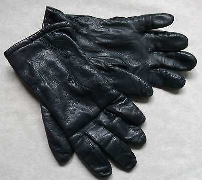 Gloves WOMENS Vintage Retro 1980s LEATHER  NAVY
