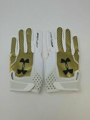 New Under Armour Men's Gold/Yellow/White Spotlight WR Football Gloves