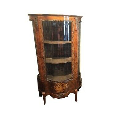 Antique  French Rosewood Marquetry Serpentine Front Display Cabinet