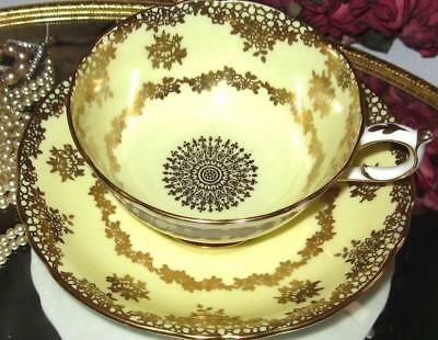PARAGON Tea Cup and Saucer GOLD FILLIGREE ROSES YELLOW Double Warrant Teacup