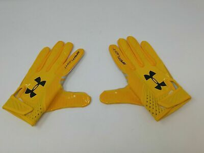 New Under Armour Men's Yellow/Yellow/Black Spotlight WR Football Gloves