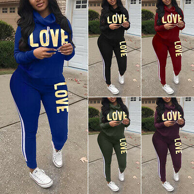 Plus Size 2PCS Women Tracksuit Striped Letter Sport Lounge Wear Tops Pants Suit