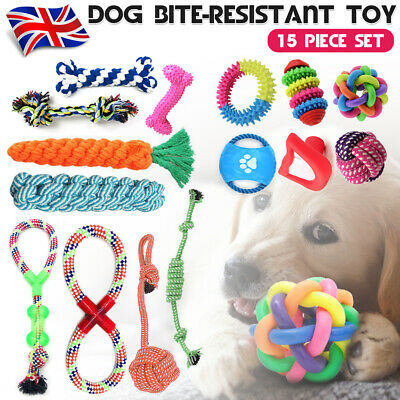 UK 15Pcs Dog Rope Toys Tough Strong Chew Knot Teddy Pet Puppy Bear Cotton Toy