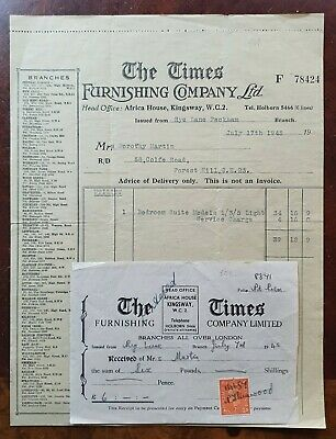 1945 The Times Furnishing Company, Africa House, Kingsway Invoice
