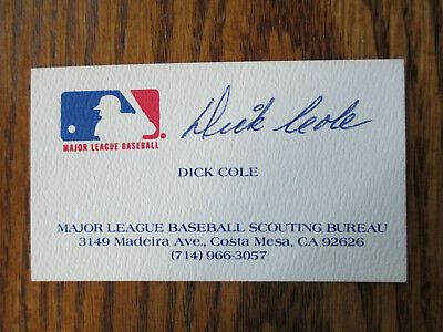 Vintage DICK COLE Signed Major League Baseball BUSINESS CARD Autograph MLB scout