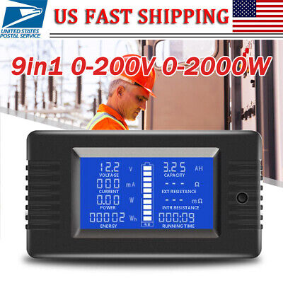 9in1 DC Combo Meter 200V 0-300A Battery Monitor Voltage Capacity Current Power