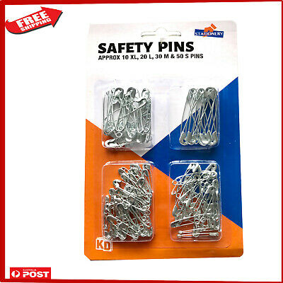 110 Safety Pins Large Small Medium Silver Pin Pack Set Baby Nappy
