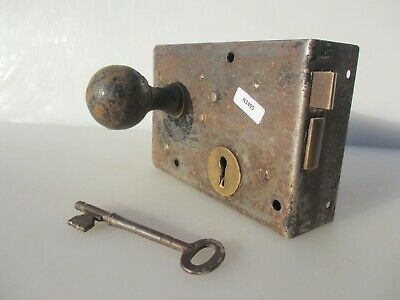Victorian Iron Door Lock Antique Bolt Old Vintage Mansion Vintage Key WORKING