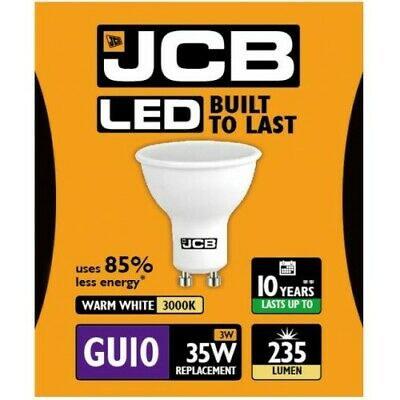 Packs 1x2x5x10x20x Bombilla LED GU10 JCB 3w=35w 5w=50w Blanco Calido-Natural