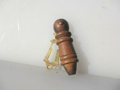 Victorian Wooden Keyhole Cover Escutcheon Brass Plate Antique Old Wood Vintage