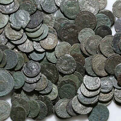 Top Quality One Bid Five , 5  Roman Bronze Coins Ca 100-300 Ad
