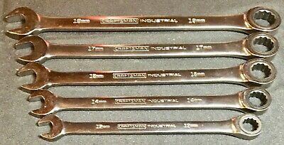 5 Pc Craftsman Industrial Metric Ratcheting Gear Type Wrenches 72Teeth Usa Made