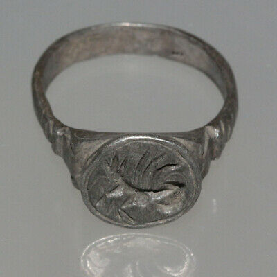 Museum Quality Early Byzantine Silver Seal Ring - Ca 500-600 Ad