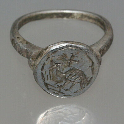 MUSEUM QUALITY BYZANTINE SILVER DECORATED RING CIRCA 700-1000 AD-Peafowl