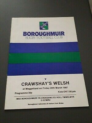 1987 Boroughmuir V Crawshay's Welsh Xv Representative Club Rugby Union Programme