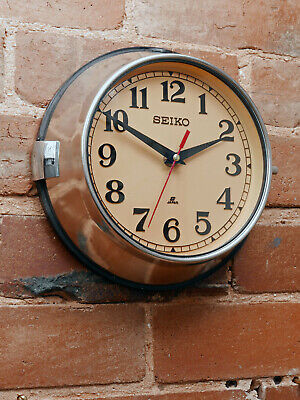 Vintage Seiko Ship's Wall Clock - Polished Steel - Industrial Marine Salvage