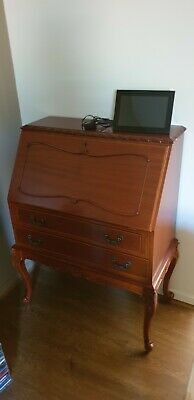 Vintage 2 Draw Writing Desk / Bureau, Solid Timber Hand Made